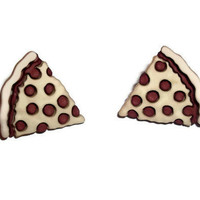 Pizza Earrings, Slice of Pepperoni Junk Food Jewelry, Kitsch Stud Earrings
