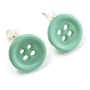 Amazon.com: Small Pale Green Plastic Button Stud Earrings (Silver Tone) -11mm Diameter: Jewelry