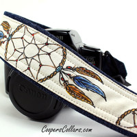 Dream Catcher Camera Strap, One of a Kind, Denim, Dreamcatcher, Feathers, dSLR or SLR