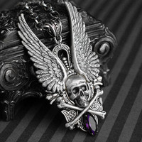Carpe Noctem - antique silver winged skull necklace with purple glass rhinestone - gothic victorian jewelry