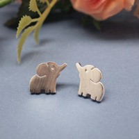 Baby &quot;Elephant&quot; Post Earring silver/ gold