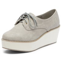 Grey laceup flatforms - Flat Shoes - Shoes - Dorothy Perkins
