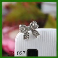 Amazon.com: Bow Rhinestone JP-027-Silver Dust Plug / Earphone Jack Accessory / Ear Cap / Ear Jack for Iphone / Ipad / Ipod Touch / All Device with 3.5mm Jack: Cell Phones & Accessories