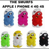 NEW STYLISH THE SMURFS SOFT SILICONE CASE COVER FOR APPLE I PHONE 4 4G 4S