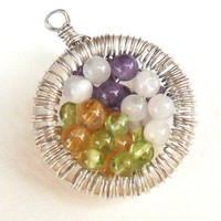 Sterling Silver wrapped Pendant multi gemstone Necklace by Daniblu