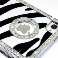 Amazon.com: LiViTech(TM) Cushion Quilted Designer Diamond Rhinestone Crystal Bling Case iPhone 4 4S (AT&T ,VERIZON,SPRINT) (Zebra Silver): Cell Phones & Accessories