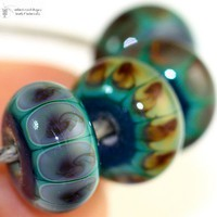 Glass lampwork beads Tribal Rainforest petite rounds