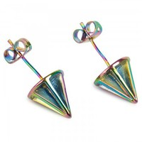 Lotus iridescent cone earrings