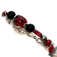 Ladybug Bracelet Red Black Gray Ribbon Closure One of a Kind Jewelry