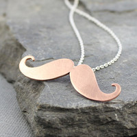 Copper Moustache pendant, mustache necklace, mustache jewelry, Metal work