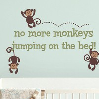 Monkeys Jumping on the Bed Wall Decal  Monkey by tweetheartwallart