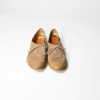 Vintage Cap Toe Suede Leather Oxford Flats - women's 8/8.5