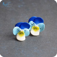 Flower earrings ear studs navy blue earrings from by Rozibuz