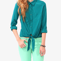Button Up Tie Blouse | FOREVER 21 - 2031556607