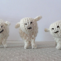 OOAK Hand Knit Sheep (Set of 3) Small Lambs Easter Unique Minature Soft Wool Waldorf Toy/Display Sweet Adorable Cute Children
