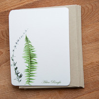 Personalized Stationary Set - Botanical Fern and Flower, 12 cards, Custom Stationary