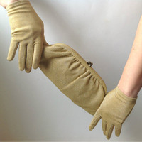 Vintage Purse Gloves Gold Lurex Clutch Matching Gloves