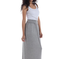Maxi Skirt - Foldover Adjustable Soft Waistband, Long Maxi Skirts,  Heather Grey