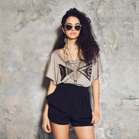 The Pottery Tee - Lyocel Jersey and Leather  -  XS, S, M