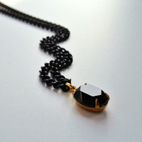 Black Swarovski Pendant Necklace, Black and Gold Chain Necklace