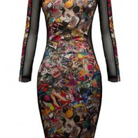 Multi Color Graphic Print Bodycon Dress with mesh Sleeves, D
