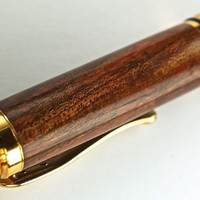 Handcrafted Wooden Pen Rollerball Handcrafted Stabilized Dyed Red Maple Beautiful 10K Gold Hardware 398R