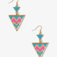 Chevron Striped Triangle Earrings