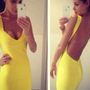 Starry Yellow Sexy Halter Bandage Dress