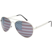 Blue Crown American Flag Aviator Sunglasses Silver One Size For Men 21364914001