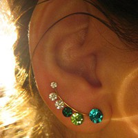 Ear Sweep Wrap - Cuff Earring with Swarovsky - Gold Filled - Bluegreen