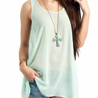 cross back tank dress &amp;#36;30.50 in MINT PEACH YELLOW - Casual | GoJane.com