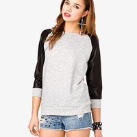 Faux Leather Sleeve Pullover | FOREVER 21 - 2037984068