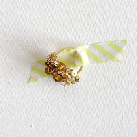 GOLDEN CLUSTER RING / mixedmedia wirewrapped by SOFTGOLDSTUDIO