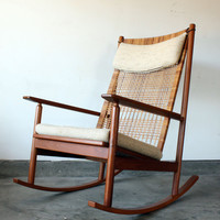 Vintage Hans Olsen Danish Modern Teak Rocking Chair