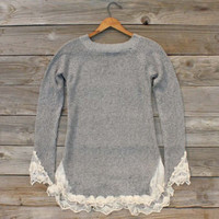 Skyline Lace Sweater in Ash, Sweet Bohemian Sweaters