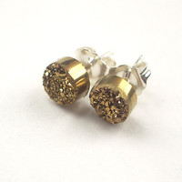Tiny Gold Druzy Post Stud Earrings Gold by DoolittleJewelry