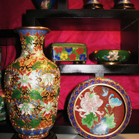 "Amazing Vintage Cloisonne  Gold with  Flowers Set of 2  Vase 8 1/4 "" Free Shipping in USA SALE"