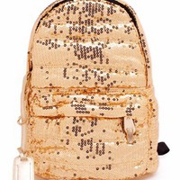 metallic sequin backpack &amp;#36;40.30 in GOLD RED ROYAL - Bags | GoJane.com