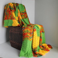 Afghan - Paneled Ripple Crochet Blanket Throw - Fiesta Yellow and Green