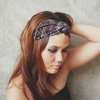 Violet Boho, Turban Twist Headband - violet, black, brown boho graphic print