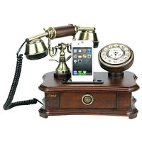 Amazon.com: Pyle PRT35I Retro Home Telephone with Charger for iPhone/iPod - Retail Packaging - Wood: Cell Phones & Accessories