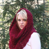 Deep Red Textured Cowl Scarf Hood Infinity Scarf  Deep by crochetgallery
