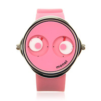 Cute Big Eyes Pink Silicone Watch