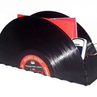 Recycled Record Storage Container for Accessories by retrograndma