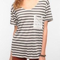 Urban Outfitters - Daydreamer LA Striped Lace Pocket Tee