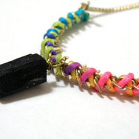 Black Tourmaline and Neon Necklace by nubambu on Etsy