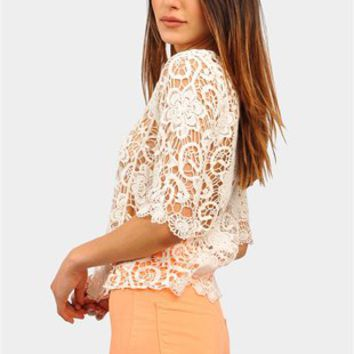 Sunflower Crochet Top - Ivory