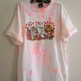 Upcycled puff printed kittens and roses neon tie dye shirt