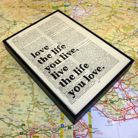 Love the Life you Live inspirational quote by wallenvyart on Etsy