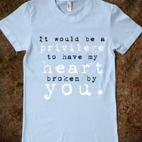 Oh, I Wouldn't Mind, Hazel Grace.-Female Light Blue T-Shirt